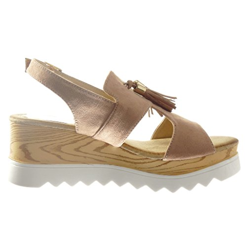 Angkorly - Chaussure Mode Sandale plateforme ouverte femme frange pom-pom bois Talon compensé plateforme 6.5 CM - Rose