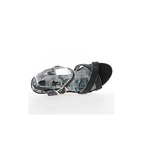 Sandales compensées femme noires talon 12,5cm et plateau avant