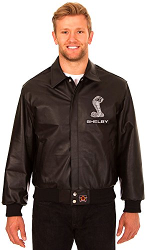JH Design Carroll Shelby Men's Black Leather Bomber Jacket With Embroidered Applique Logos (Racing 09 Pit)