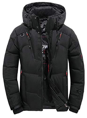 security Men Hooded Jacket Warm Cotton Jacket Zipper Athletic Outdoor Coat Black