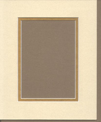 18x24 Light Tan & Gold Double Picture Mats Bevel Cut for 12x18 Pictures