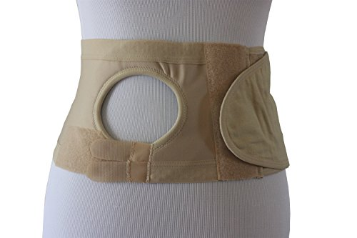 Safe n' Simple Right Hernia Support Belt with Adjustable Hole, 6 Inch, Beige, Large (Adjustable Ostomy Belt)