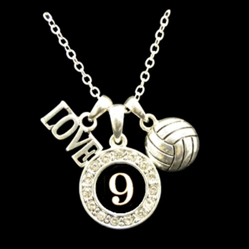 MadSportsStuff Custom Player Jersey ID Volleyball Necklace Available in 24 Numbers