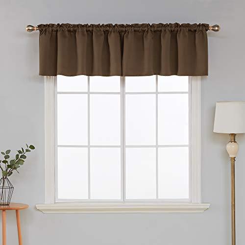 - Deconovo Decorative Window Treatment Valance Blackout Curtains Rod Pocket Valance Curtain for Bedroom Windows 52x18 Inch Brown 1 Panel