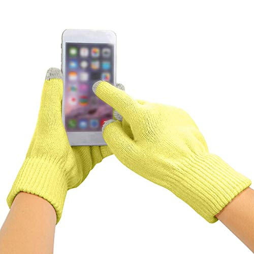 goalBY Unisex Womens Men Winter Cashmere Knit Silicone Non-Slip Touch Warm Fleece Magic Gloves (Yellow)