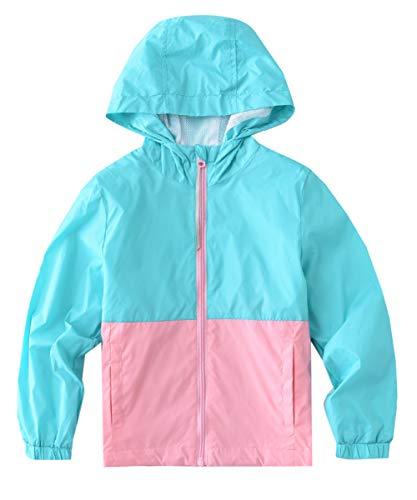 - M2C Girls Hooded Lightweight Windproof Jacket Water Resistant Windbreaker 8/9 PowderBlue