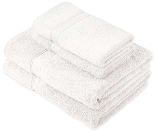 Pinzon by Amazon Lot deserviettes, 2 draps de bain et 2serviettes de bain en coton Blanc