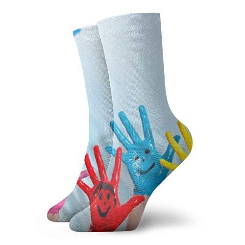 Unisex High Ankle Cushion Crew Socks Palm Kids Casual Sport Socks