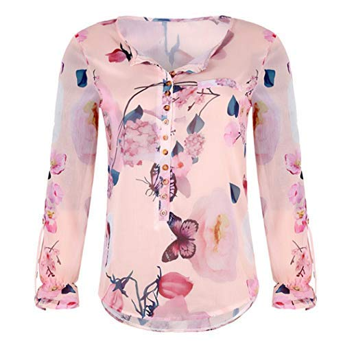 UONQD Women Chiffon Blouse V Neck Short Sleeve Top Shirts(X-Large,Orange) ()