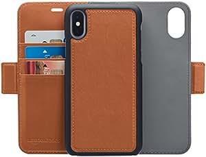 AmazonBasics iPhone X PU Leather Wallet Detachable Case, Brown
