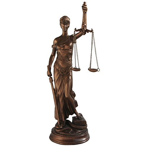 Lady of Justice Goddess Statue, Bronze Color, 14.25 Inches Tall ()
