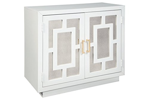 Ashley Furniture Signature Design - Walentin 2-Door Accent Cabinet - Contemporary - White Finish - Gold Finished Metal Handles - Geometric Pattern on Mirror Panel (Contemporary Mirrored Cabinet)