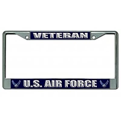 U.S. Air Force Veteran Chrome License Plate Frame: Automotive
