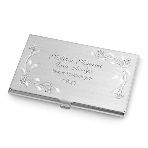 - Things Remembered Personalized Silver Vines and Leaves Business Card Case with Engraving Included