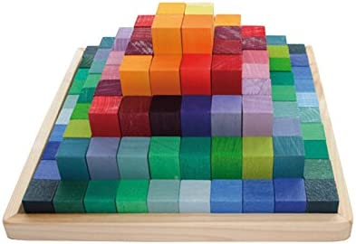 Grimm's Small Stepped Pyramid of Wooden Building Blocks, 100-Piece Learning Set