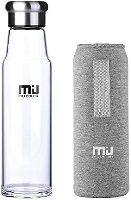 MIU COLOR Botella de agua de cristal 24,5 oz - Eco-friendly vidrio ...