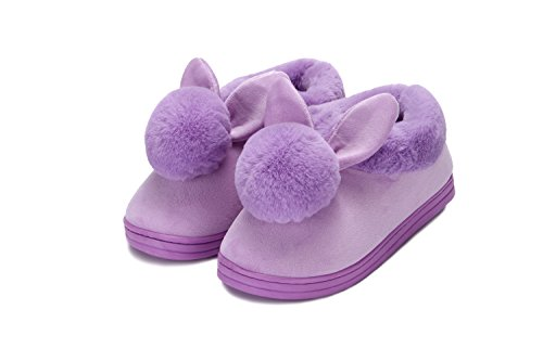YOWOO Soft Plush Warm Bedroom Indoor Non Slip Slippers For Women Cute Bunny Wrap Heel Style (Purple (Soft Bunny)
