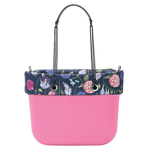 Grande O Pink Bag Nero Sacca Botanical Lungo Catena Manico Bordo Borsa Obag wtxHqgn55p