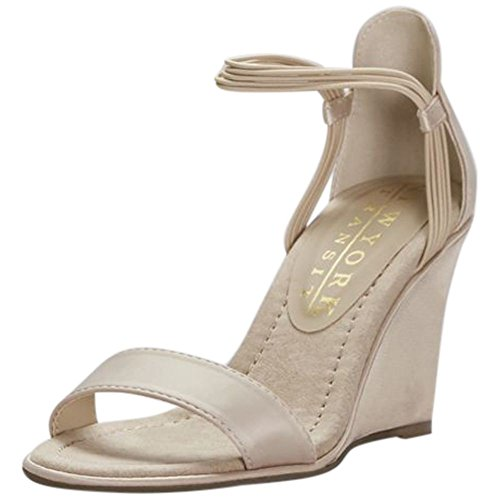 Satin Ankle Strap Wedge (David's Bridal Satin Wedges With Elastic Ankle Straps Style LOOKINGGREAT1, Nude, 9)