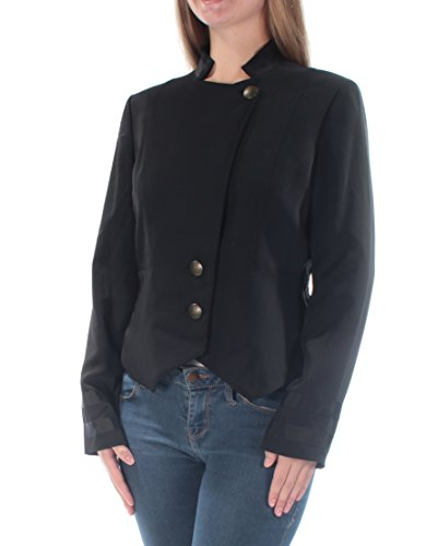 RACHEL Rachel Roy Womens Contrast Trim Lined Collarless Blazer Black 6