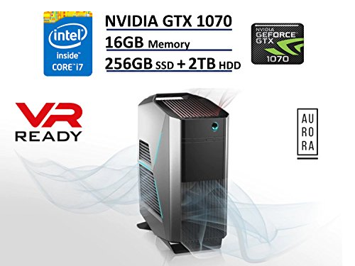 Dell Alienware Aurora R5 VR Ready Gaming Desktop PC - NVIDIA GTX 1070 8192MB, Kaby Lake Intel Quad-Core i7-7700, 256GB PCIe M.2 NVMe SSD + 2TB HDD, 16GB DDR4, DVD-RW, Bluetooth, Windows 10