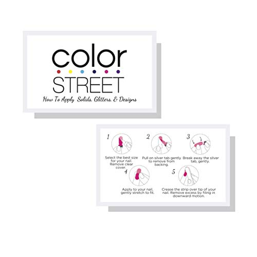Color Street How To Apply Solid, Glitter, Designs | White Nail Polish Strip Application Instruction Cards | 50 Pk | 3.5 x 2
