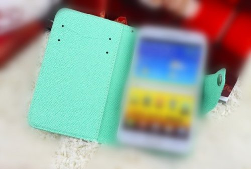 Fancy PU Leather cute Wallet Case Cover skin With Magnetic flap closure Diary for Blackberry Q10 Smart Phone (mint)