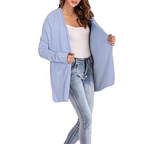 Fashion Mujeres Estilo Manga Punto Sólidos Largo Primavera Azul Cardigan Chaqueta Elegantes Colores Casuales Tejido Abrigo Mujer De Otoño Abrigos Claro Moderno UFfxqxwv
