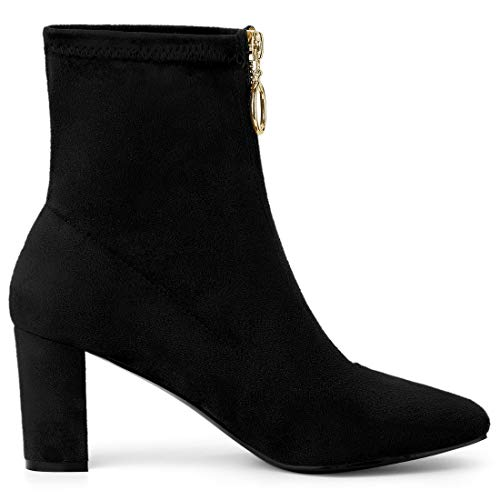 Allegra K Women's Front Zipper Chunky High Heel Ankle Boots