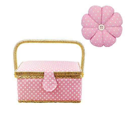 Polka Dots Sewing Box Basket Organizer with Pumpkin Wrist Pin Cushion Pink