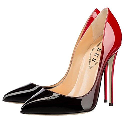 EKS - Zapatos de Tacón Mujer Rojo - Rot-schwarz-12cm