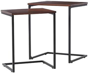 Industrial Mansard Nesting Tables Set Of 2, SET, BLACK