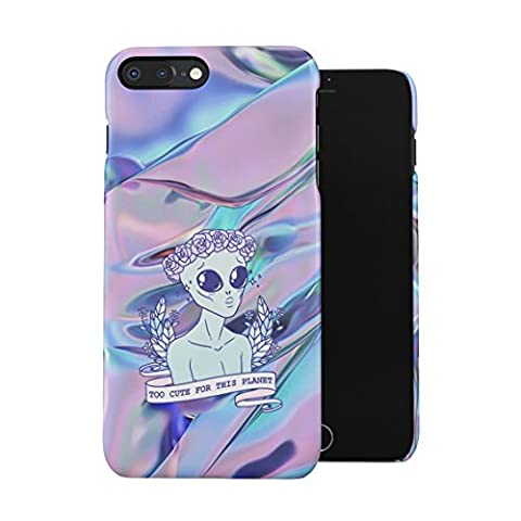 Sassy Alien Too Cute For This Planet Trippy Holographic Print Plastic Phone Snap On Back Case Cover Shell For iPhone 7 Plus & iPhone 8 - Swag Holder Finish