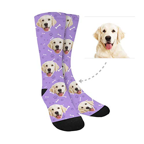 Print Dog Custom - Custom Print Your Face Socks, Turn Your Photo into Rose Bulldog Purple Paw Bone Crew Socks Unisex