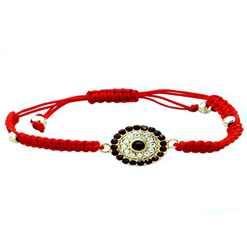 Red Evil Eyes Crystal and String Adjustable Bracelets