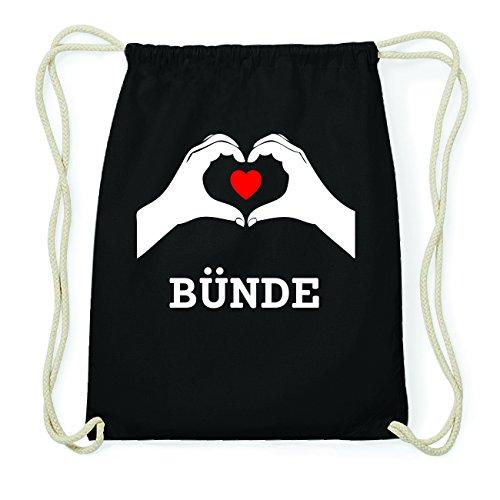 JOllify BÜNDE Hipster Turnbeutel Tasche Rucksack aus Baumwolle - Farbe: schwarz Design: Hände Herz