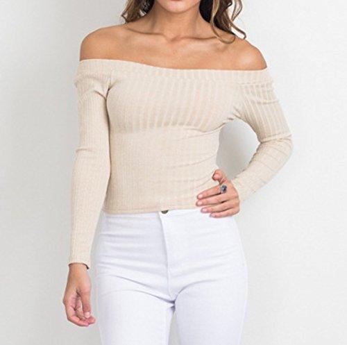 Autunno Inverno Maniche sweatshirt Elegante Pullover Casuale Jumper Corti Maglione da Donna Maglieria Lunghe Fuori Spalla Strette T-shirt Bluse Camicie Tops