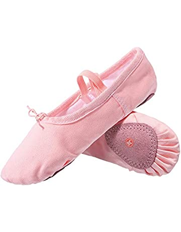 d07d1dd51 L-RUN Girl's Ballet Shoes Women's Dance Shoes Flat Dancing Slipper Canvas  Vamp Leather Sole