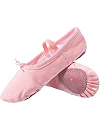 L-RUN Girl's Ballet Shoes Women's Dance Shoes Flat Dancing Slipper Canvas Vamp Leather Sole