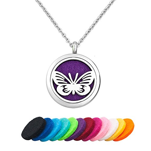 Third Time Charm Aromatherapy Essential Oil Diffuser Necklace Stainless Steel Butterfly Locket Pendant,12 Refill Pads (Butterfly 5) (Beauty Butterfly Locket)
