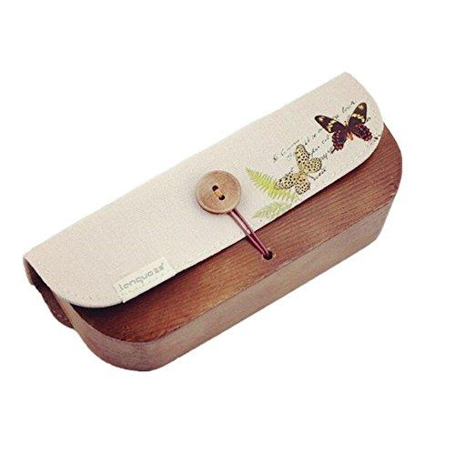 Brillenetui Hardcase aus Holz für lesebrille sonnenbrille outdoor Erwachsene und Kinder (Hellbraun)