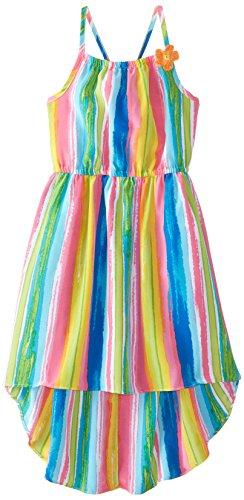 Emily West Big Girls' Watercolor Print High Low Sundress Dress, Multi, 12