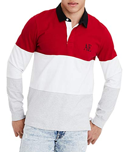 (American Eagle Mens Long Sleeve Rugby Shirt. Red)