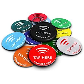 WhizTags NTAG213 PVC NFC Tags with 3M Adhesive Backing for Samsung Galaxy S6, S5, S4, Note 4, HTC One X, Droid DNA, Sony Xperia, Nexus, 10-Pack with NFC Keychain and Tag