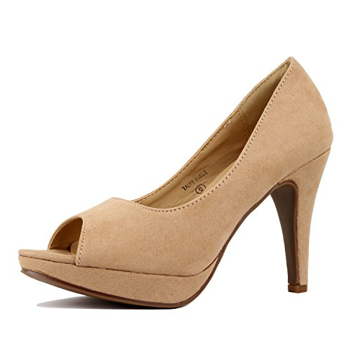 2 Peep Toe Pump - Guilty Heart - Womens Ankle Strap Closed Round High Heel Party Dress Pumps Pumps Shoes, 2 Taupe Suede, 8.5 B(M) US