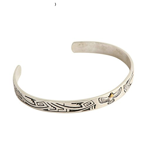Daesar 925 Silver Bracelet For Men And Women Indian Eagle Totem Opening Bracelet Silver by Daesar