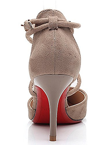 IDIFU Womens Sexy Cross Bandage Mid Stiletto Heels Pumps Shoes With Ankle Strap Khaki tM7Wr