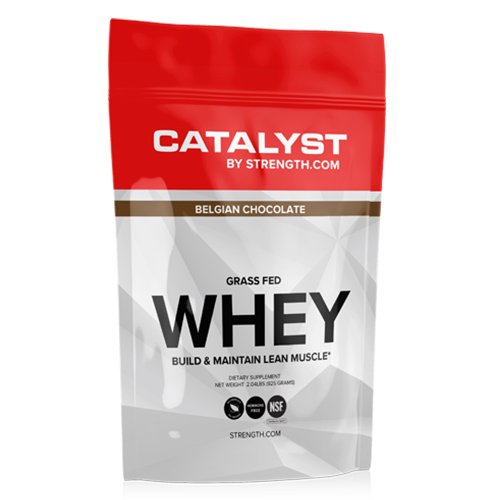 100% ALL NATURAL Grass Fed Whey Protein Powder (2.02 lbs), Clean, Fully transparent, NSF Certified for Sport, Belgian Chocolate, Sweetened with 100% Natural Stevia , CATALYST by Strength.com