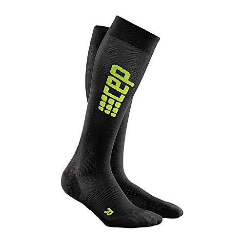 ive+ Ultralight Run Socks with Compression, Light, Breathable Fit for Cross-training, Running, Sports, Recovery, and Athletics, Black/Green, 4 ()