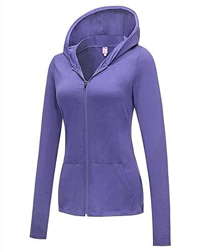Violet Clair Vestes Longues À Femmes Blouson Sweats Casual shirt Capuche Sweat Manches Zippé 4gPqAw